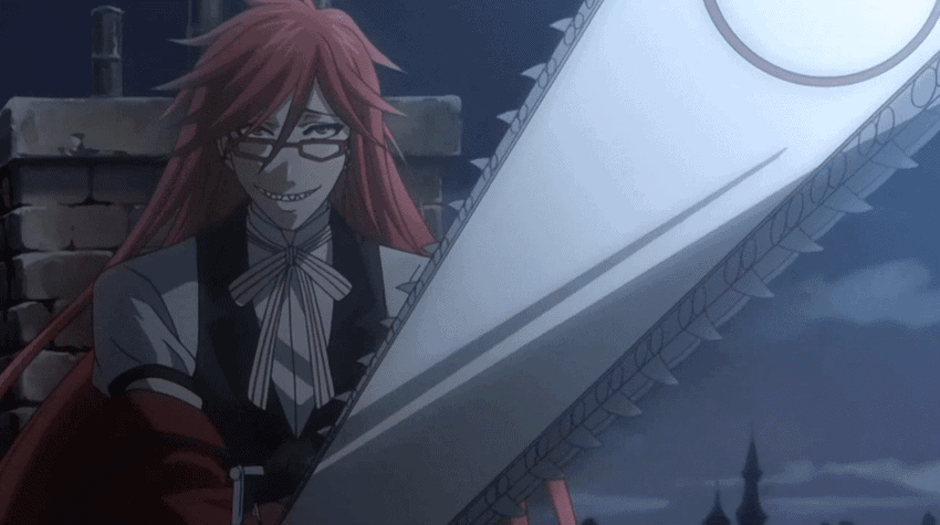 Grell Sutcliff holding his Death Scythe chainsaw