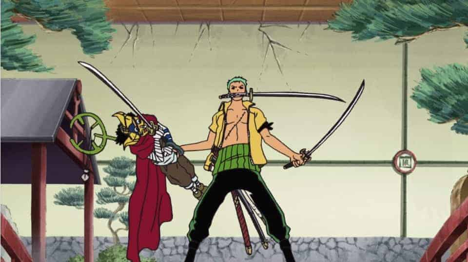 Zoro and Sogeking fighting together in Water 7